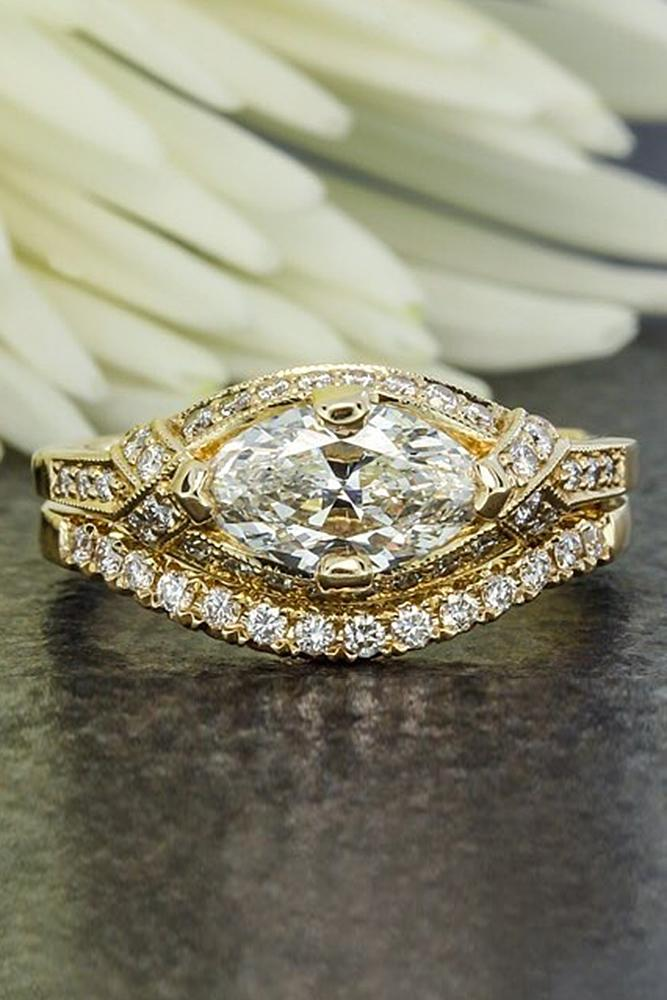 vintage wedding rings pave band gold marquise cut