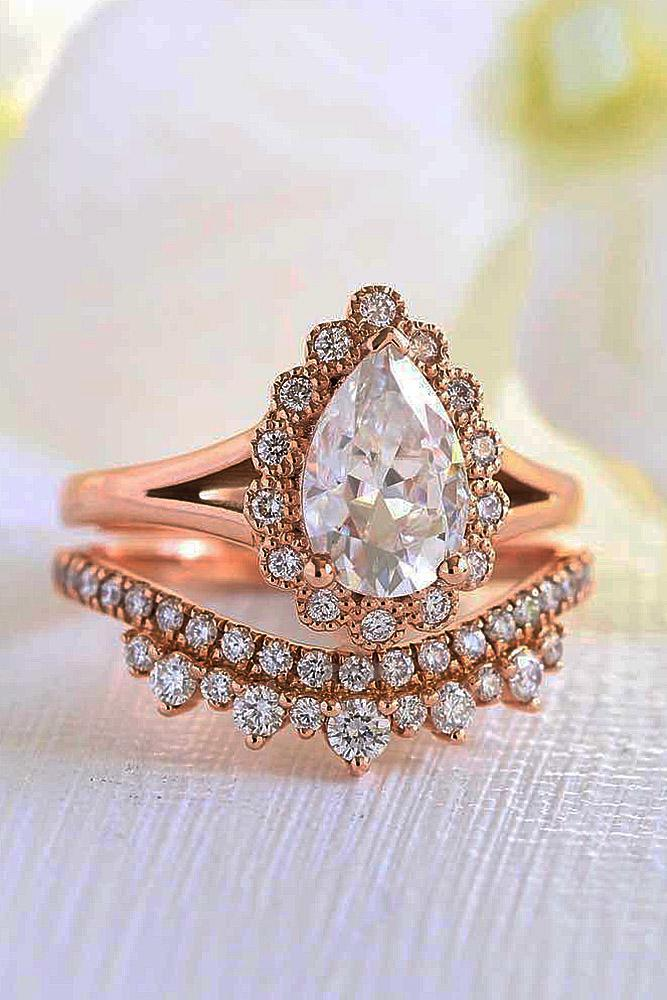 vintage wedding rings pear cut halo floral rose gold