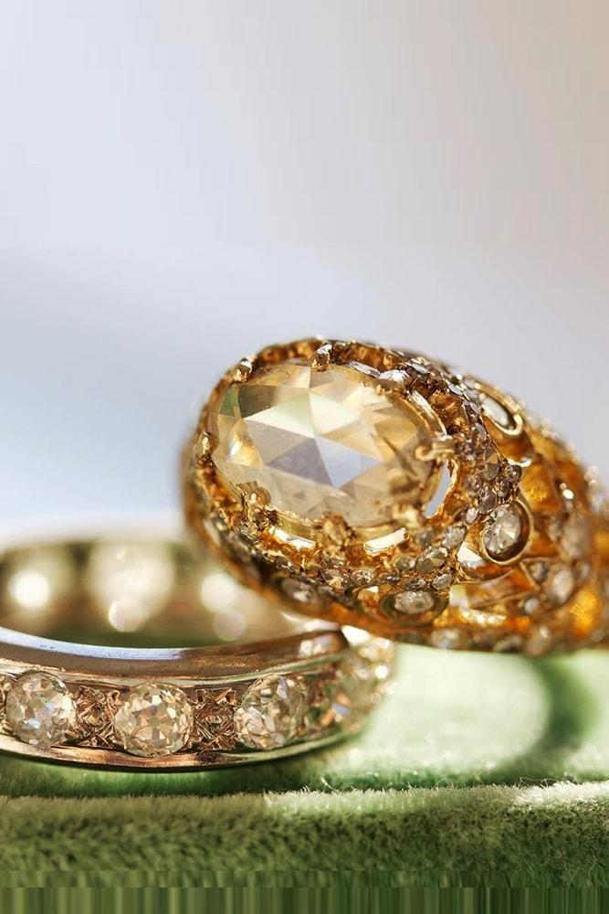 vintage wedding rings rose cut diamond in an amazing yellow gold