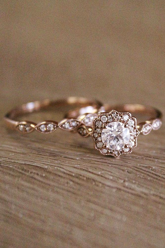 vintage wedding rings rose gold halo round cut diamond