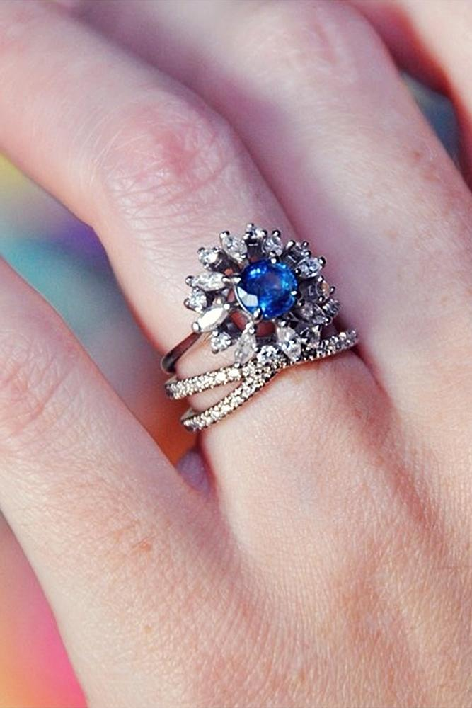 vintage wedding rings round cut sapphire floral