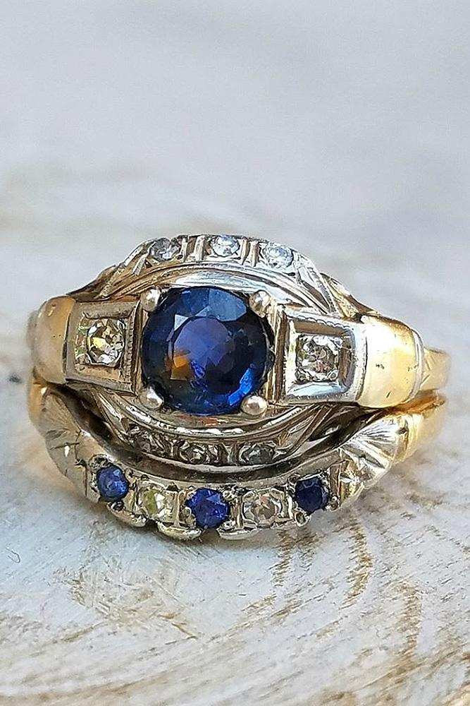 vintage wedding rings sapphire round cut yellow gold
