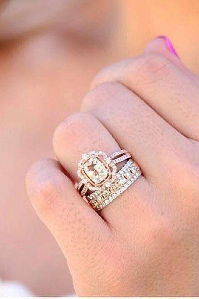 vintage wedding rings split pave band rose gold