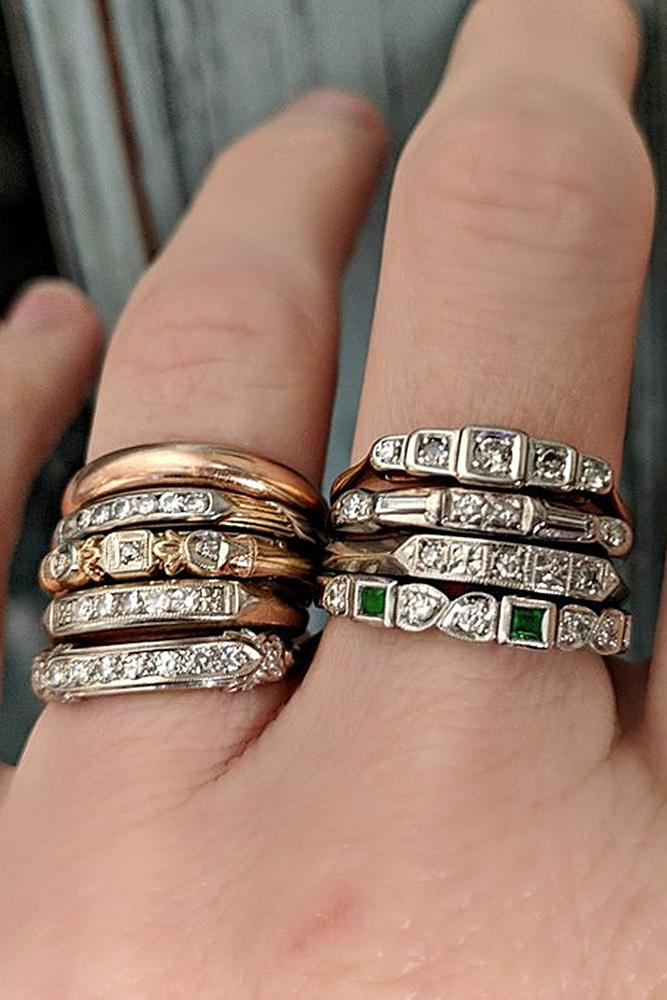 vintage wedding rings stackable bands gold art deco