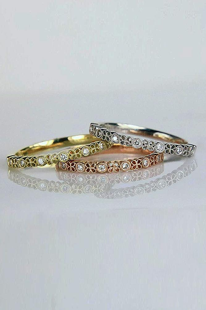 vintage wedding rings stackable bands rose white yellow gold