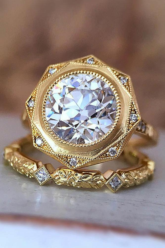 vintage wedding rings yellow gold pave band round cut