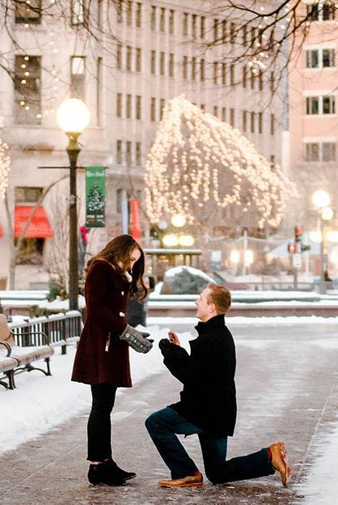wedding proposal couple romantic city lights
