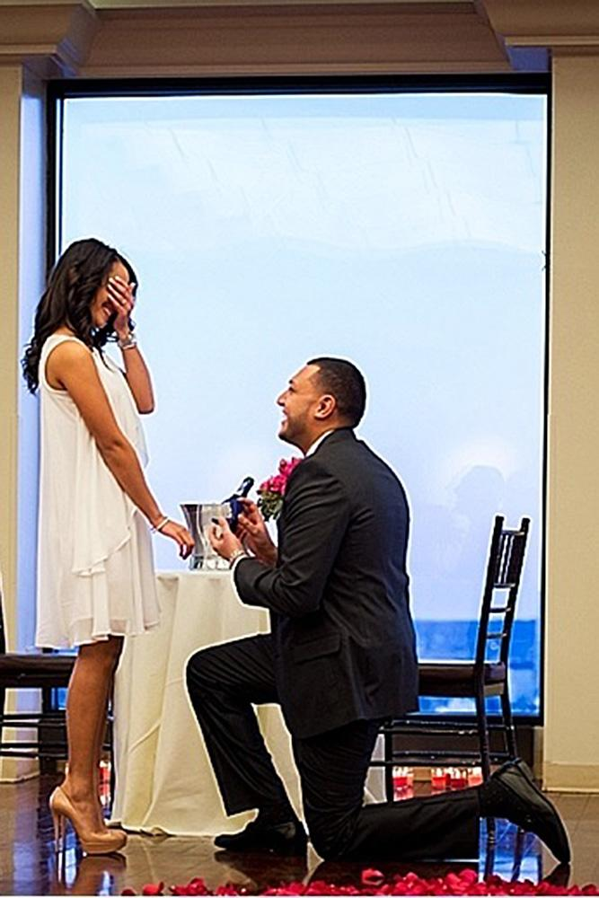 wedding proposal man enagages the woman at the restaurant