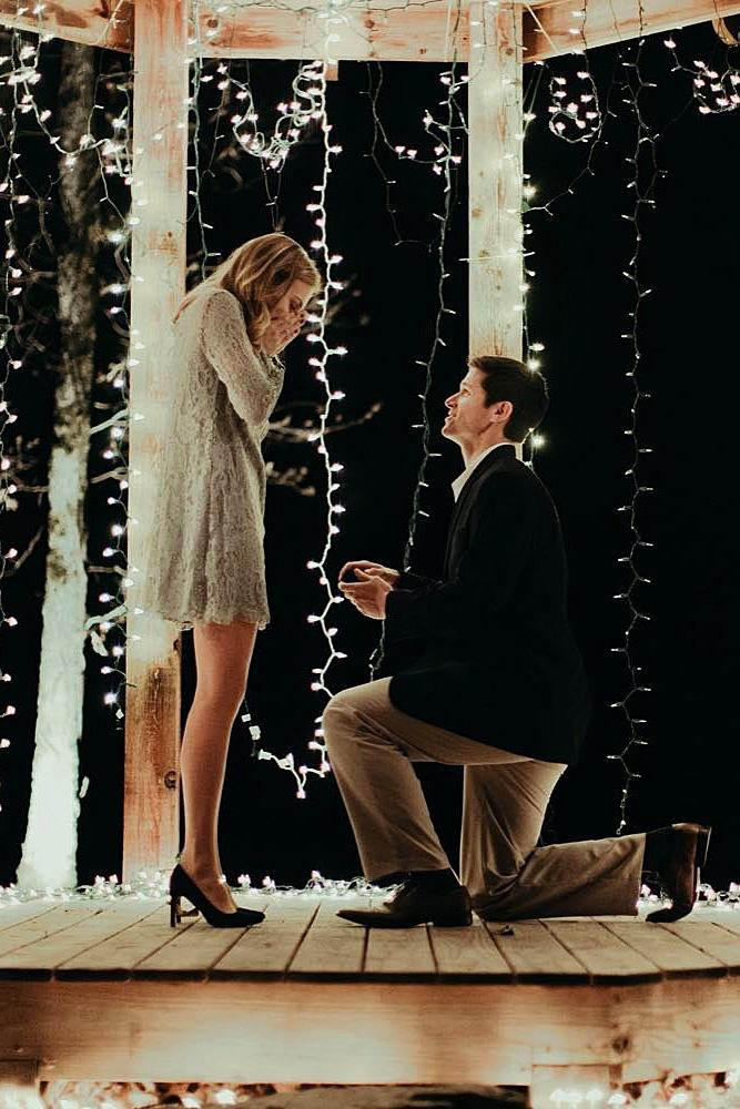 wedding proposal man engages the woman