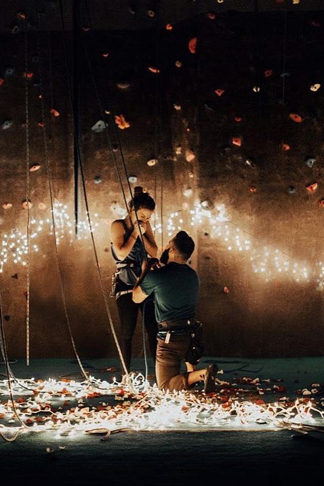 wedding proposal man engages the woman romantic nightlights