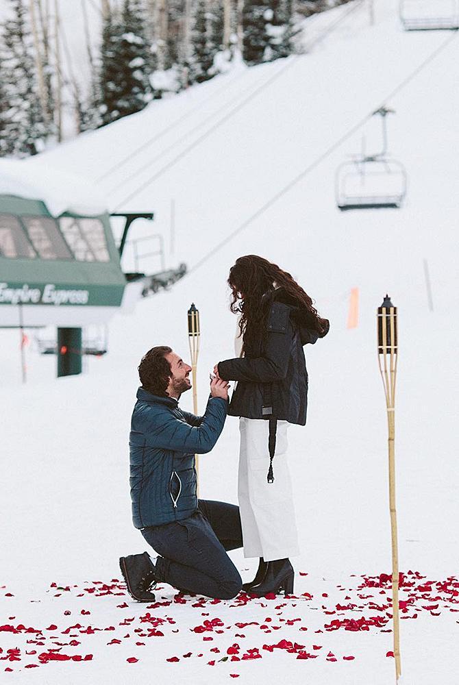 wedding proposal man propose a woman snow sports