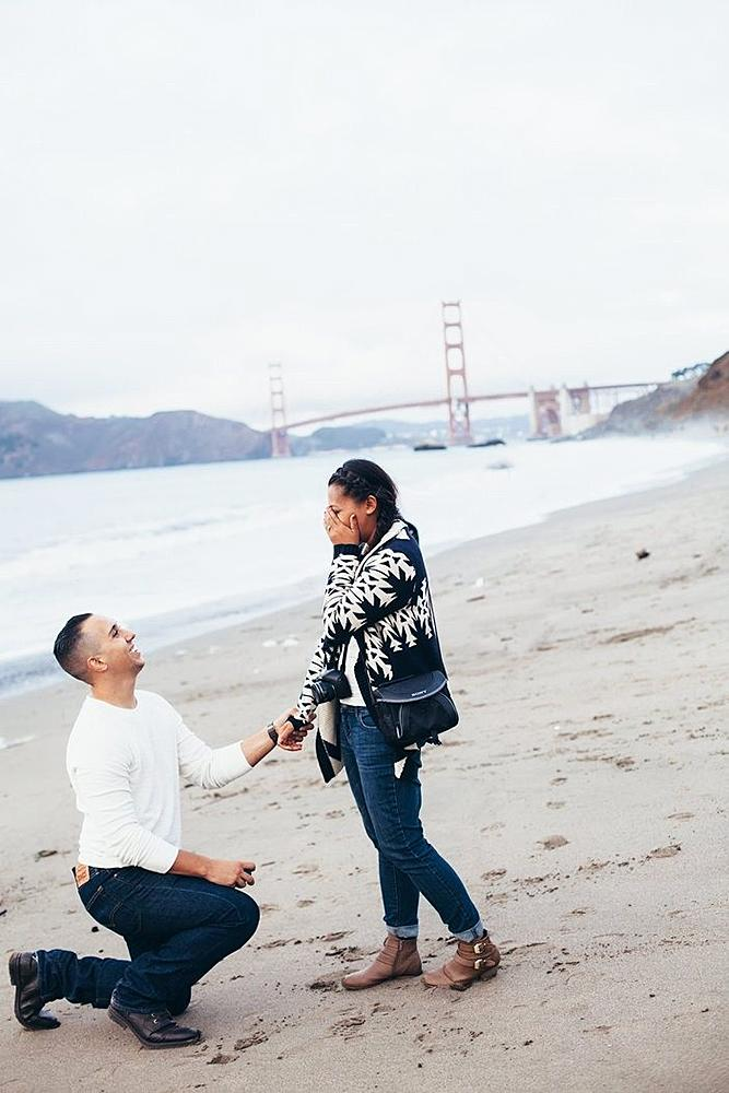 wedding proposal man propose woman on the beach