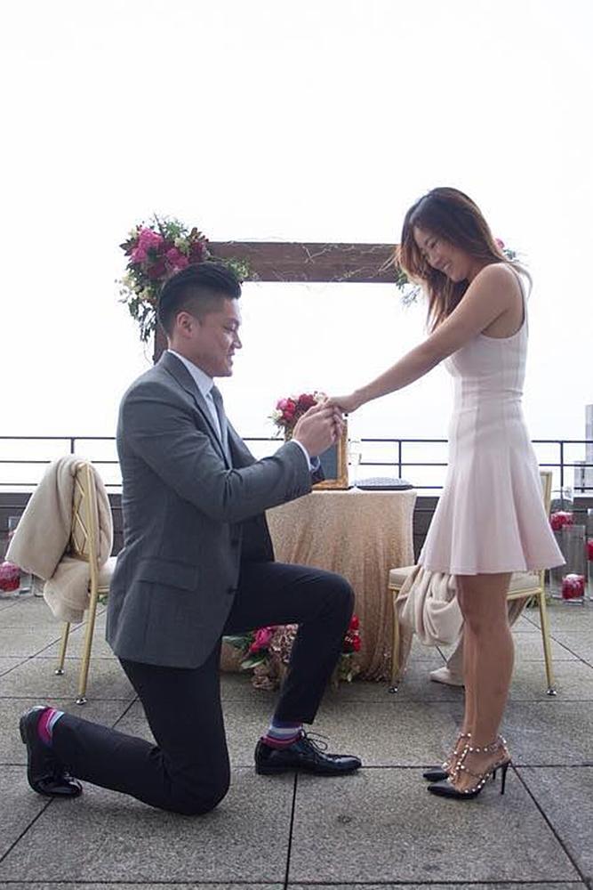 wedding proposal on the roof she amazed