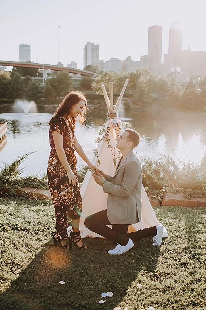 wedding proposal romantic couple at the nature