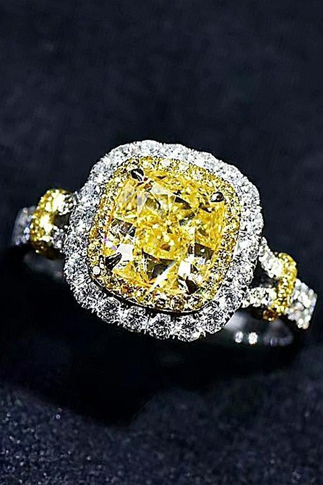 yellow diamond engagement rings cushion cut double halo