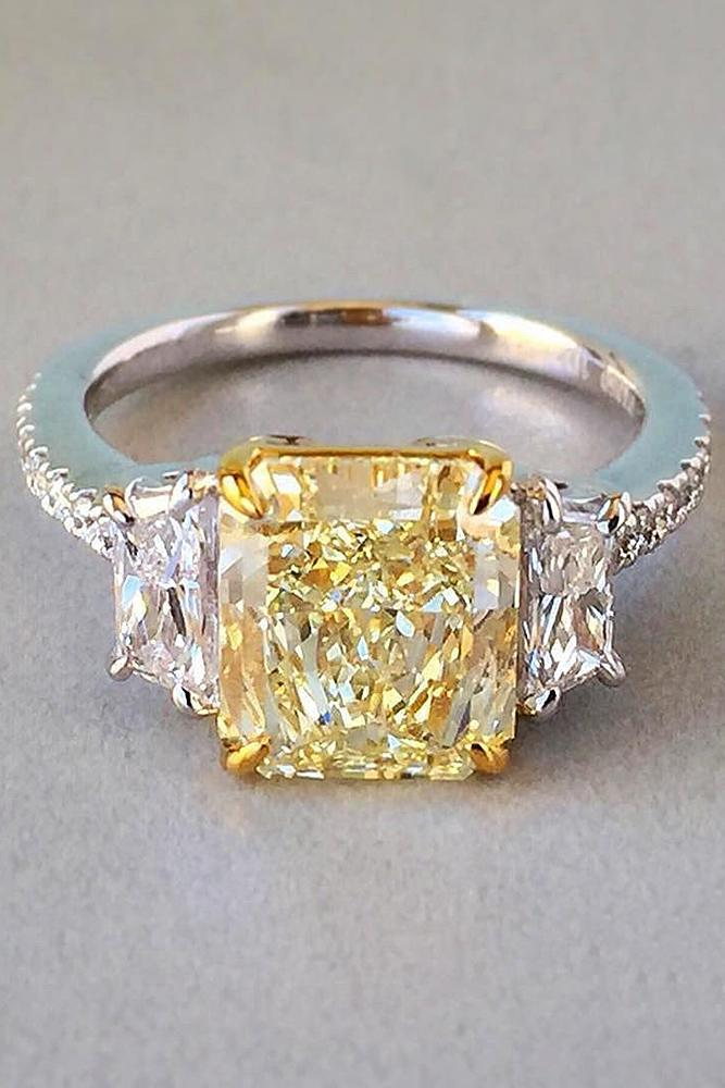 yellow diamond engagement rings cushion cut three stones pave band white gold