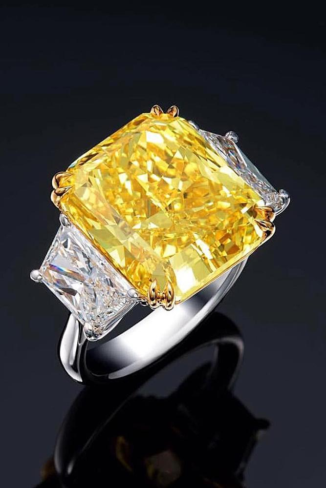 yellow diamond engagement rings cushion cut three stones white gold