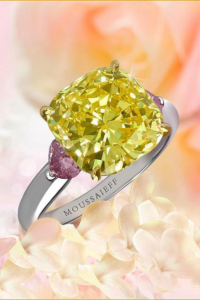 yellow diamond engagement rings cushion cut white gold gemstone