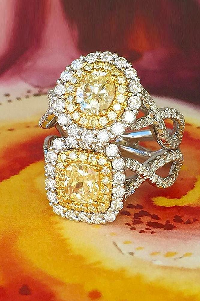 yellow diamond engagement rings double halo twist pave band