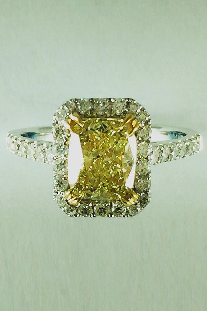 yellow diamond engagement rings emerald cut pave band white gold halo