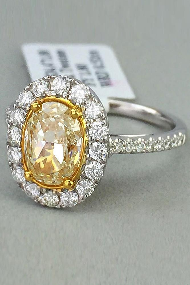 yellow diamond engagement rings halo pave band oval cut