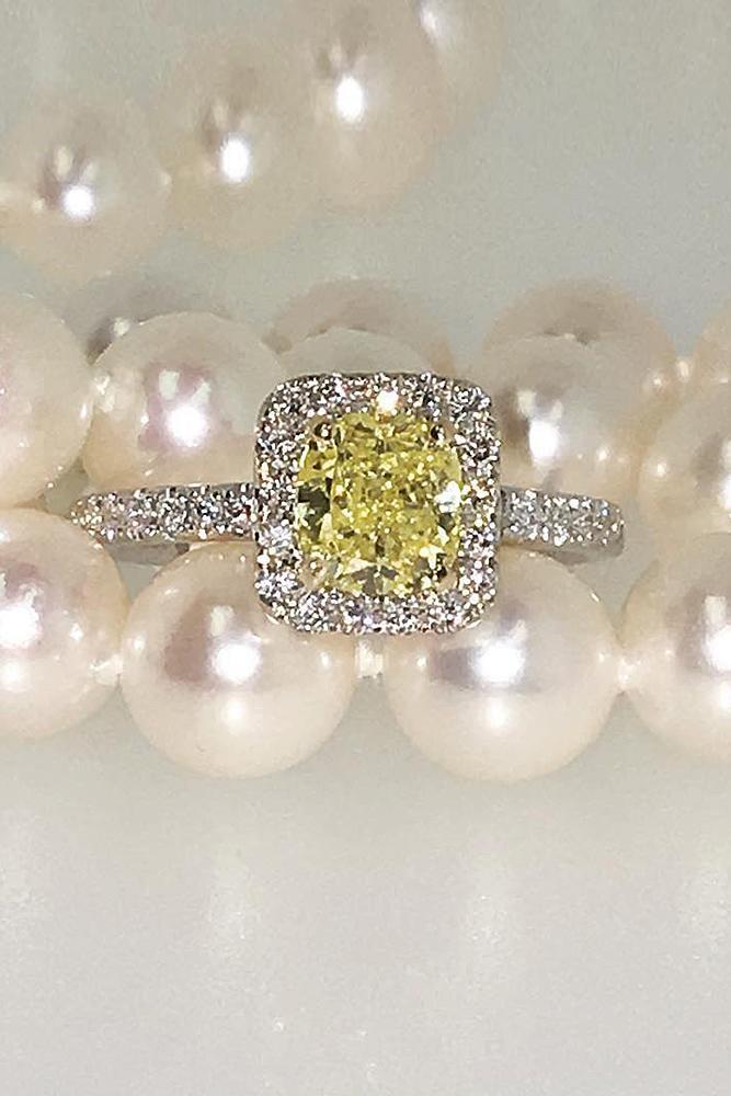 yellow diamond engagement rings halo round cut pave band