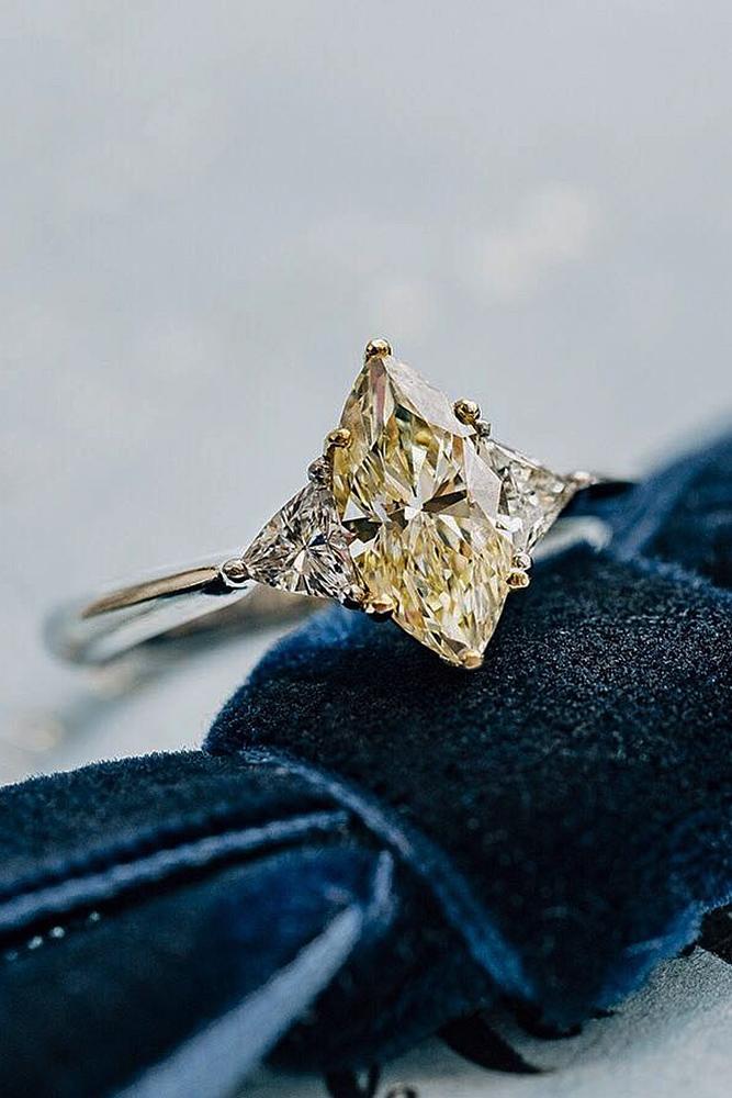 yellow diamond engagement rings marquise cut white gold three stones