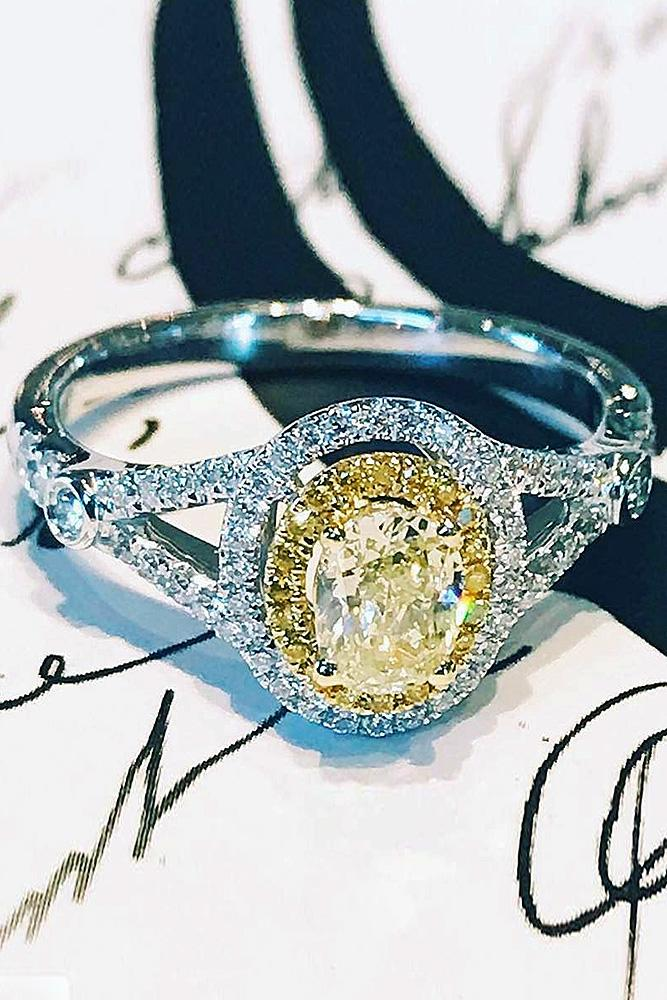 yellow diamond engagement rings oval cut double halo split white gold