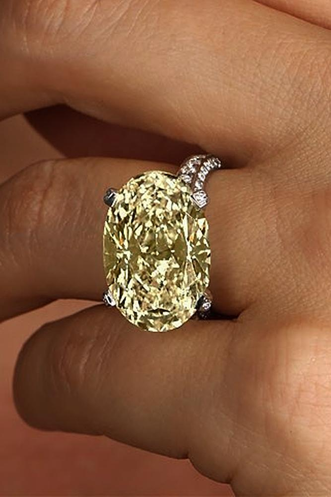 yellow diamond engagement rings oval cut solitaire pave band