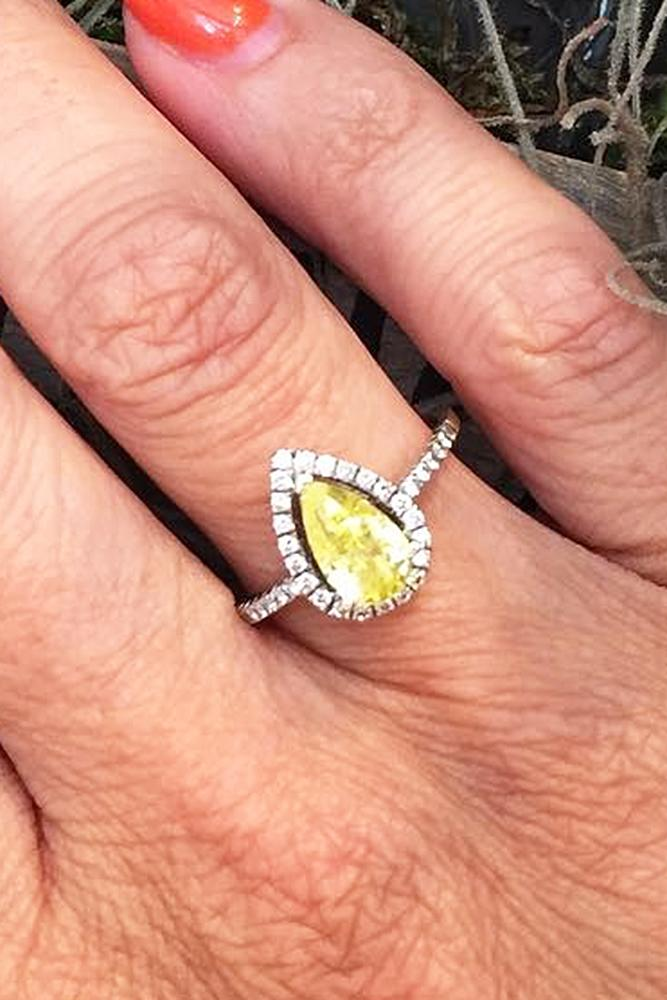 yellow diamond engagement rings pear cut halo pave band