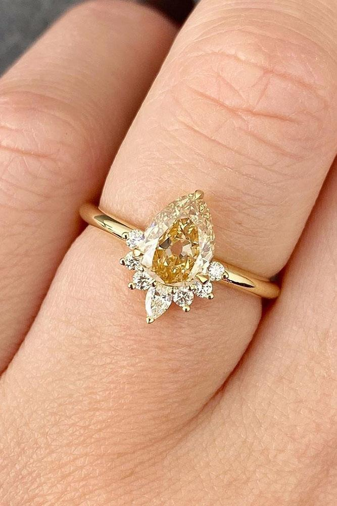 yellow diamond engagement rings pear cut ring unique ring
