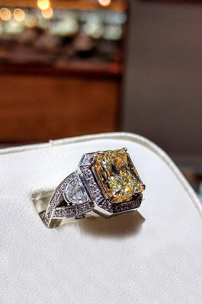 yellow diamond engagement rings princess cut modern white gold