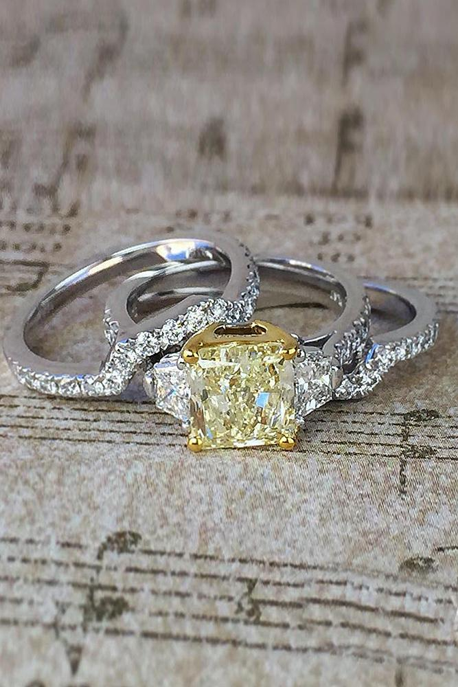 yellow diamond engagement rings princess cut white gold wedding set