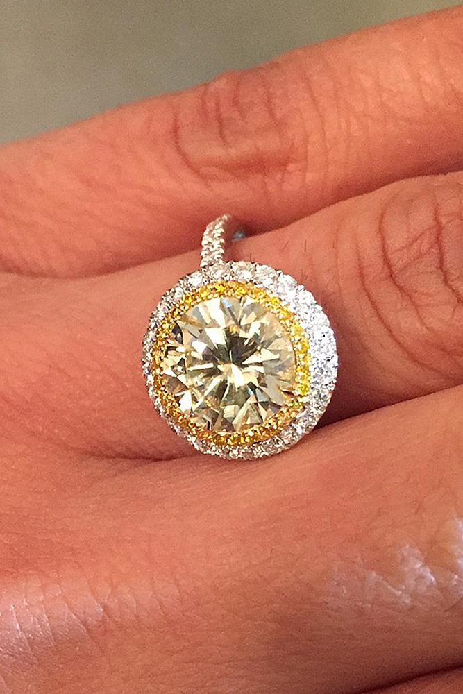 yellow diamond engagement rings round cut double halo pave band