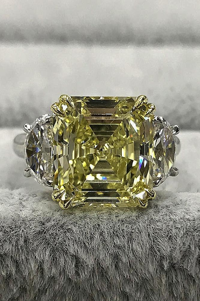 yellow diamond engagement rings solitaire emerald cut white gold