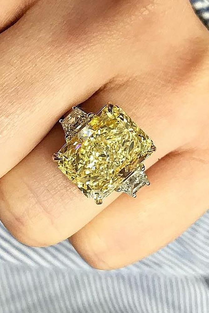 yellow diamond engagement rings solitare emerald cut
