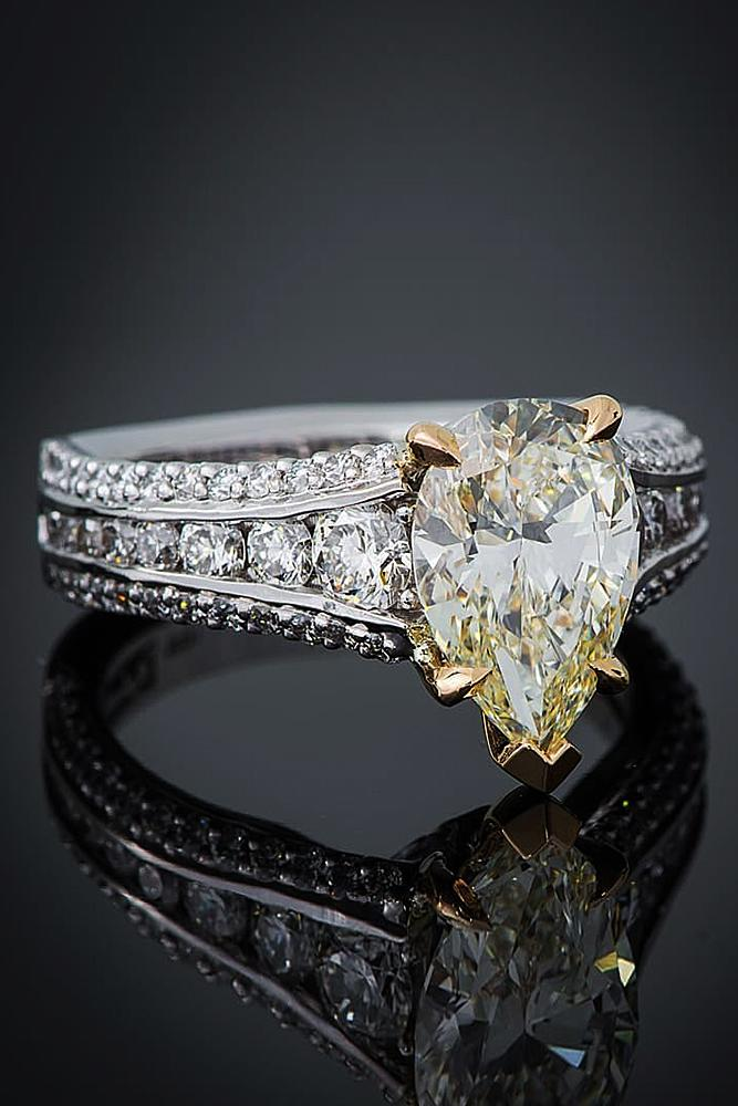 yellow diamond engagement rings white gold pave band pear cut