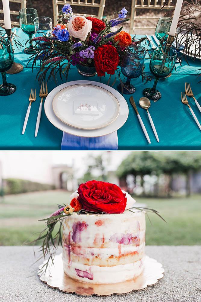 Matt and Meredith table setting and proposal cake