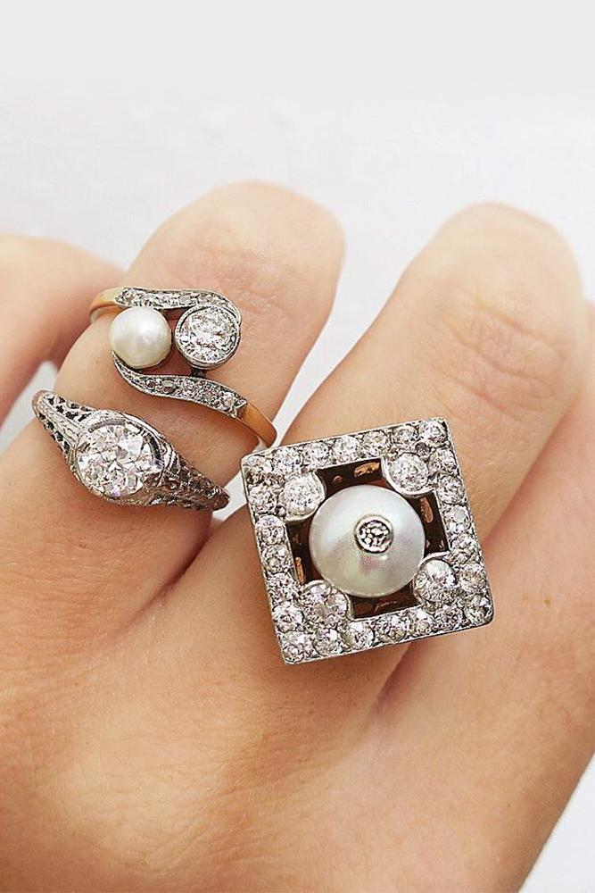 art deco engagement rings lozenge white gold halo