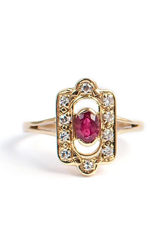 art deco engagement rings oval cut ruby gold
