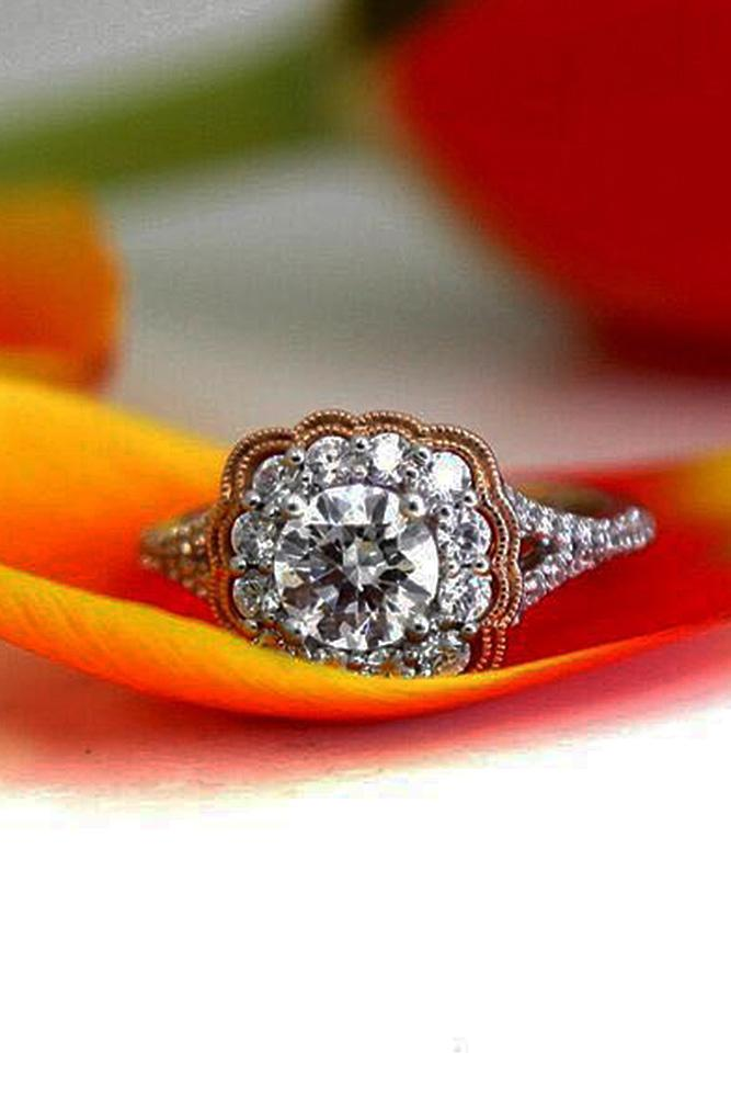 art deco engagement rings round cut floral halo split diamond pave band