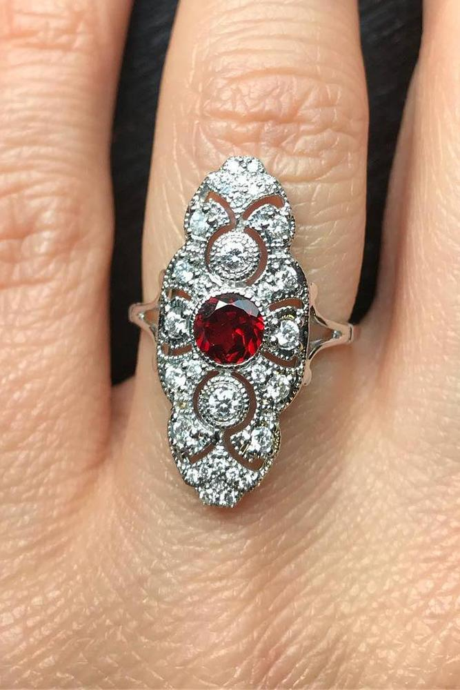 art deco engagement rings round cut ruby platinum