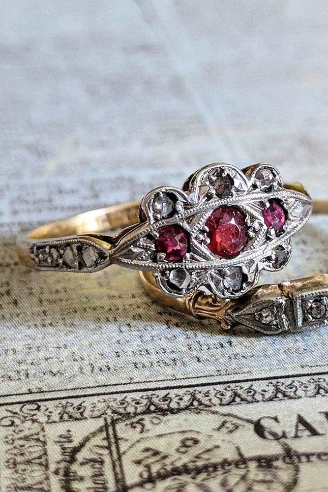 art deco engagement rings three round cut rubies