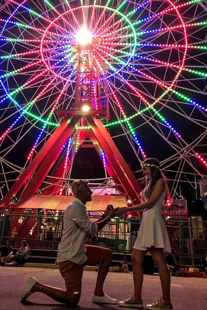 best proposals amazing proposal in luna park ferris wheel at night