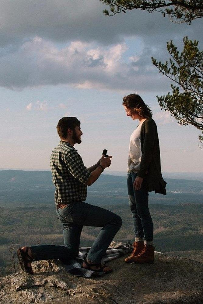best proposals breathtaking view engaged couple