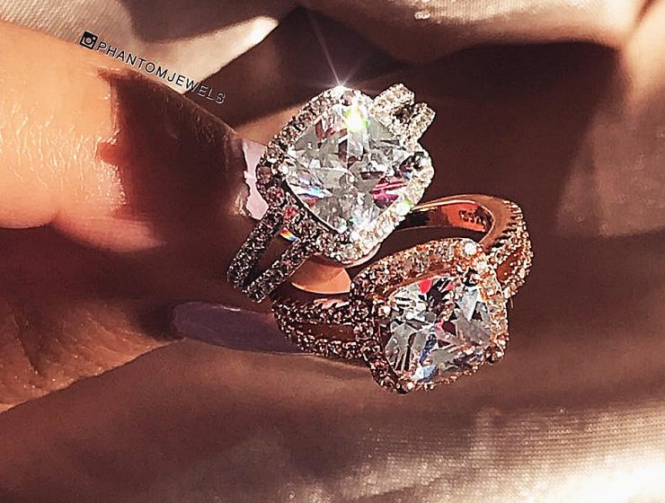 cheap engagement rings halo pave band cushion cut