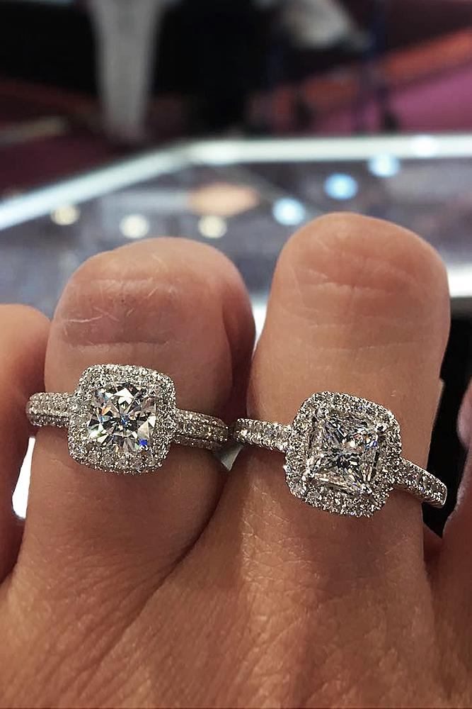 cheap engagement rings pave band split double halo gemstones