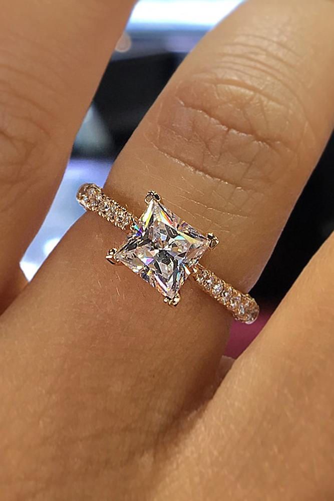 cheap engagement rings princess cut pave band solitaire