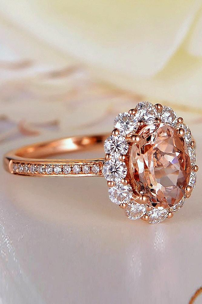 cheap engagement rings rose gold sparkling round cut morganite halo with pave band