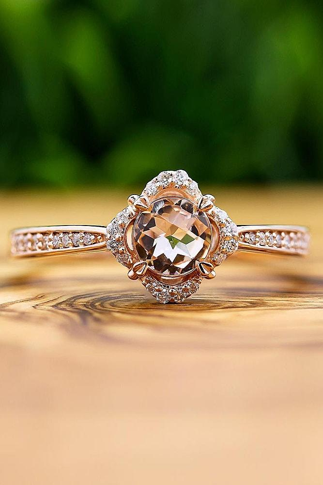 cheap engagement rings rose gold sparkling round cut morganite unique halo with pave band brilliant